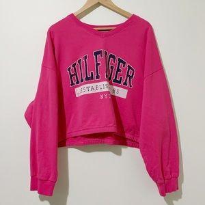 Tommy Hilfiger Pink Cropped Crewneck Sweater XXL
